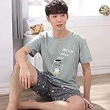 ZWLXY Pijama de la Ropa de Sport de algodón Pijamas Primavera Verano nuevos Pantalones Cortos de los Hombres Pijamas Pijamas de los Hombres de Las Mangas de los Hombres,A6,XXL