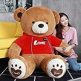 qwerbz Sudadera Teddy Bear Plush Doll Girl Sleeping Cute Plush Toy Girlfriend Child Birthday Gift 80cm Oso suéter Rojo