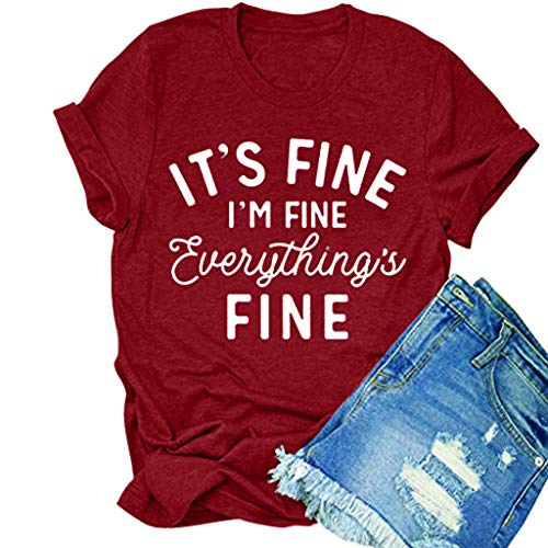 Youmymine Women's Casual Letter Printing Short Sleeves T-Shirt Blouse Fashion It's Fine Tank Tops (Wine, XXXL)