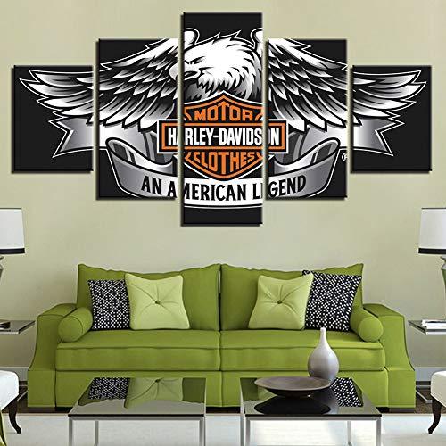 Dmhy Tele di Pittura 5 Pezzi Harley Davidson Logo HD Bedroom Decorazioni per Soggiorno,A,40X60x2+40X80x2+40X100x1