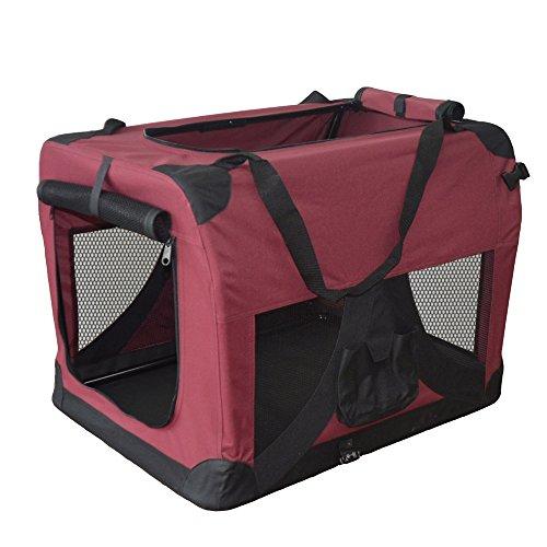 TIGGO Hundetransportbox Hundebox faltbar Transportbox Autotransportbox Faltbox Transportasche 501-D02 Farbe: Marrone, Grösse: L - 70cm x 52cm x 52cm