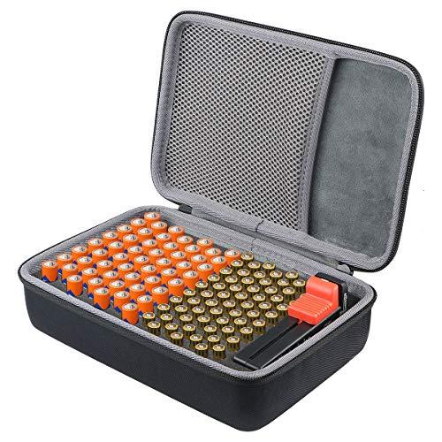 co2CREA Batterie Aufbewahrungsbox Tragetasche Batteriebox - Hält 116 Batterien AA AAA C D 9V - Passend für Tacklife MBT01 Batterietester Akkutester Batterieprüfergerät (S_Holds,Mit Tester)