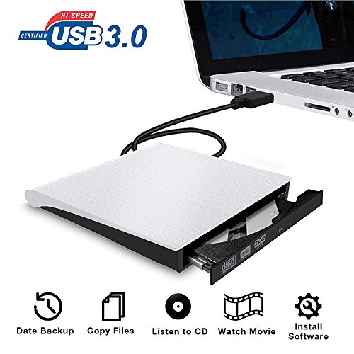 USB 3.0 External CD Drive Portable CD DVD +/-RW Drive Slim DVD/CD Rom Rewriter Burner for Laptop Desktop PC Windows and Linux OS Apple Mac