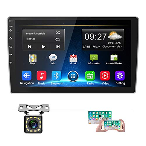 Car Stereo Double Din Android 8.1 GPS Navigation Stereo 2G 32G Indash Head Unit 10'' HD 1080P Touch Screen Car Radio Bluetooth WIFI FM Radio Receiver USB MP5 Player Mirror Link SWC+12 LEDs Rear Camera