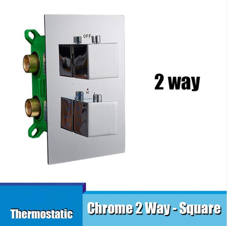 MICHEN Thermostat Embedded Box Wasserhahn Kartuschenventil Dreifach Kartuschen Wasserhahn Ventil 2 Wege 3 Wege Duschhahn Ventil für Duschpaneel,Chrome2WaySquare