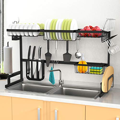 Over the Sink Dish Drying Rack Length & Height Adjustable 2-Tier Tableware Drainer for Kitchen Organization Storage Space Saver Shelf