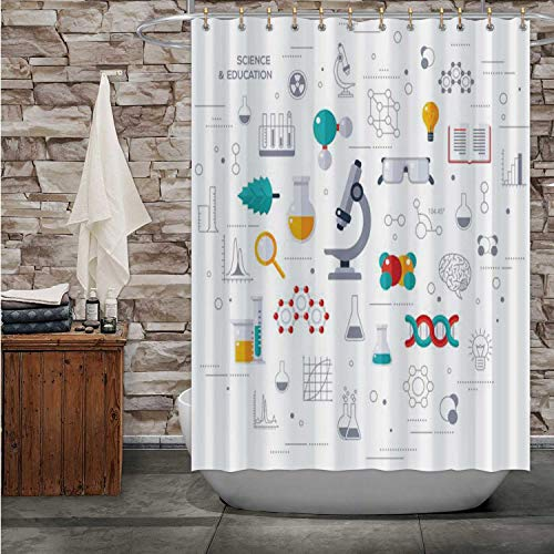 Tstyrea Concept of Education and Science with Microscope - Russia,Shower Curtain Science Bathroom Decor Set with Hooks 72x72in