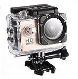 Bewinner Videocamera di Azione Mini DV Videocamera Sportiva Impermeabile da Esterno 30M Videocamera Subacquea Sport da Ciclismo Videocamera DV Action Camera per Escursionismo all'aperto Nuoto(Oro)