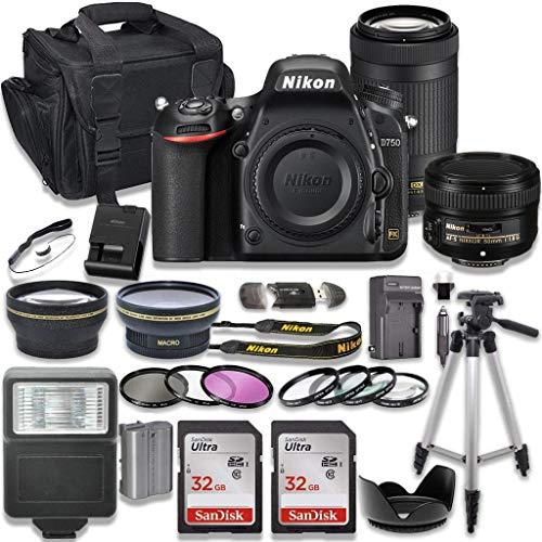 Nikon D750 DSLR Camera with AF-S NIKKOR 50mm f/1.8G Lens + Nikon AF-P 70-300mm f/4.5-6.3G ED Lens + 2pc SanDisk 32GB Memory Cards + Accessory Kit