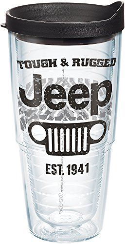 Tervis Jeep Brand - Tough and Rugged Tumbler with Wrap and Black Lid 24oz, Clear