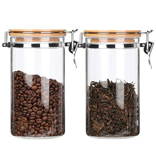 KKC 2er Sets Vorratsdosen Glas mit Bambus Deckel Luftdicht, 1,5 L,Kaffeedose
