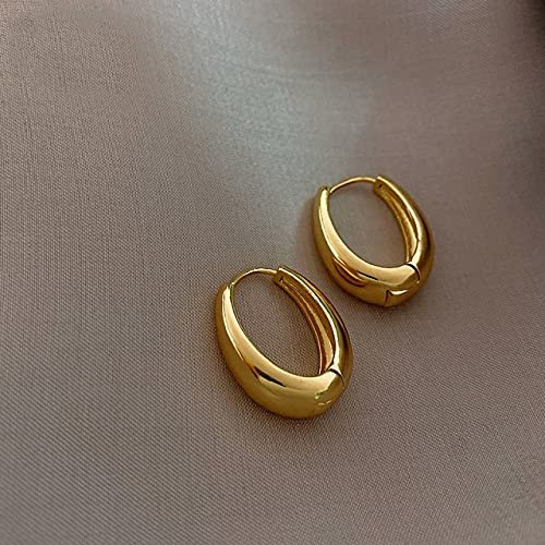 2020 New Classic Copper Alloy Smooth Metal Hoop Earrings for Woman Fashion Korean Jewelry Temperament Girl's Daily Wear Earrings