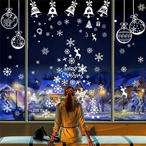 EDOTON Fensterbilder Schneeflocken Glocke Weihnachten Dekoration Aufkleber für Vitrine Fensterdeko Set Selbstklebend Abnehmbare PVC Aufkleber Winter Dekoration 6 Blatt
