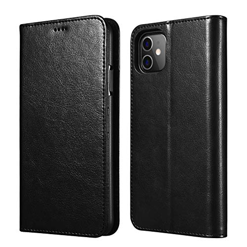 ICARERCASE iPhone 11 Wallet Case, Folio Flip Magnetic Pu Leather Cover with Kickstand and Credit Slots for iPhone 11 6.1 inch 2019 (Black)