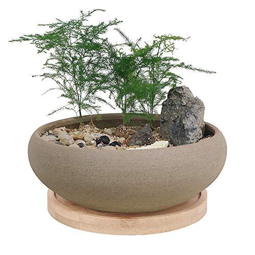 MUZHI Round Unglazed Ceramic Bonsai Pot with Bamboo Tray, Large Rough Pottery Succulent Planter with Drainage Hole 8 inch …