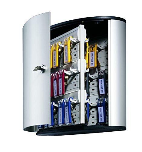 DURABLE Key Box with Key Lock, Holds 54 Key Tags, 11 x 11-3/4 x 4-5/8 Inches, Brushed Aluminum (195323) Photo #5