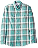 Amazon Essentials - Camisa de sarga ajustada con dos bolsillos y manga larga para hombre, Verde (Green Buffalo Bbf), US S (EU S)
