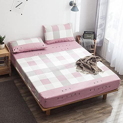 Nuoxuan Se Adapta Perfectamente al colchón,Hojas de Cama Impresas con Tela Escocesa de algodón, Dormitorio de apartamento Individual Doble tamaño King-Rosa 2_120 * 200 cm
