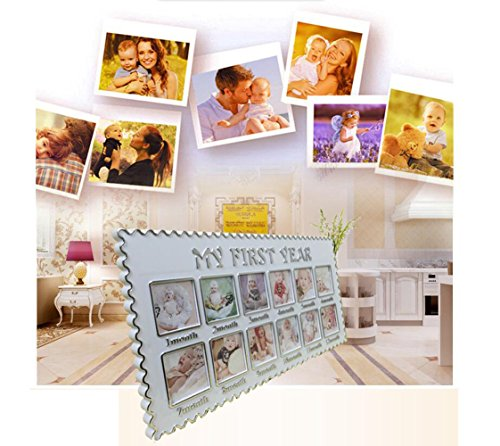 My First Year 12 Month Picture Photo Frame for Boys and Girls, Cool & Unique Baby Shower Gifts for Registry, Memorable Keepsakes Decorations for Room Wall or Table Decor, Premium Clay & Wood Frame