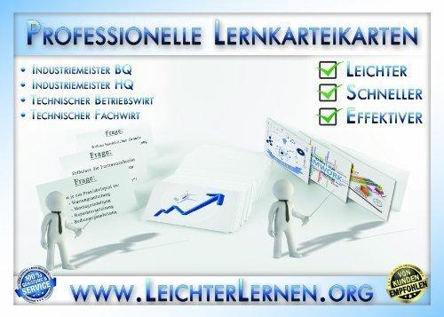 Lernkarteikarten Industriemeister Handlungsspezifische Qualifikation (HQ) 105 Fragen und Antworten Montagetechnik