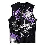 Trend Ink - Camiseta sin mangas para hombre, diseño de letra grafiti Negro Negro ( XL