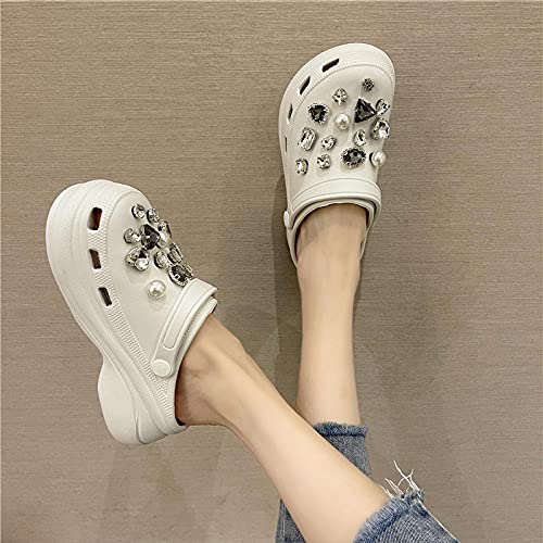 Safety Trainers for Men,Cave Slippers, Female Summer Fashion Thick Bottom Wearing Soft Bottom Water Drill Beach Pepper Non-Slip Sandals-I 36 (23cm / 9.05')_White