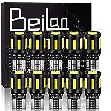 BeiLan 10PCS T10 LED Ampoules de Voiture,Canbus W5W 194 168 2825 6x 7020 & 4x 3030 Lampe Sans Erreur, Lampe de...
