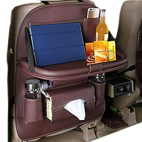 Leobtain Autositz Organizer Auto-Rücksitz-Organisator-Faltbare Tabellen-Halter-PU-Leder-Stoß-Matte für Flaschen-Gewebe-Kasten-Kind-Spielwaren
