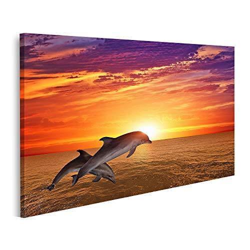 islandburner Bild Bilder auf Leinwand Hintergrund des Meereslebens Springende Delfine Schöner roter Sonnenuntergang auf See Wandbild Poster Leinwandbild QBJK