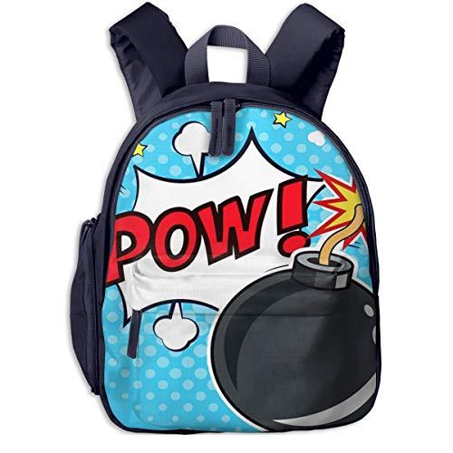 Mochilas Infantiles, Bolsa Mochila Niño Mochila Bebe Guarderia Mochila Escolar con Comic Bomb Pow Bubble para Niños de 3 A 6 Años de Edad