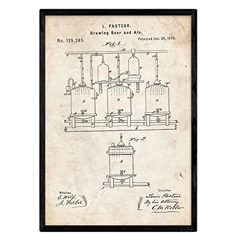 Nacnic Poster con patente de Elaboración de cerveza. Lámina con diseño de patente antigua en tamaño A3 y con fondo vintage