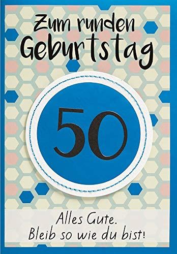 Geburtstagskarte zum 50. Geburtstag Lifestyle - Muster - 11,6 x 16,6 cm