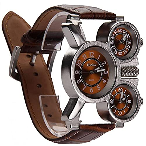 Los Hombres De Negocios del Reloj Multifuncional De Los Hombres Miran Tres Diales Analógicos Manos Luminosas Y Correa De Cuero Cómodo Diseño (marrón Paquete De 1)
