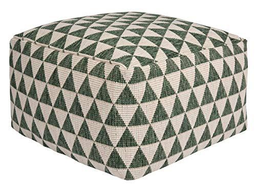 Bougari Kalahari - Puf para Interior y Exterior (Relleno de Bolitas de poliestireno, 63 x 63 x 32 cm), Color Verde y Crema