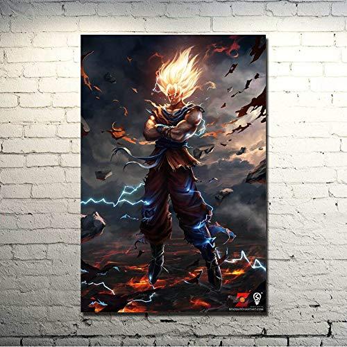 DIY Pintar por números Cuadro artístico Dragon Ball Super Goku Space Fighting Dibujo Animación Comics lienzo de pintura por números Adecuado para la decoración de la sala de e50x70cm(Sin marco)