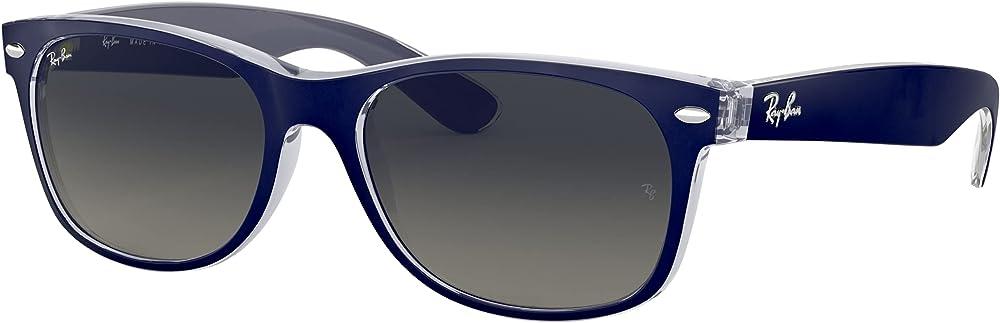 Ray-ban new wayfarer, occhiali da sole, unisex, lenti di cristallo con rivestimento anti-riflesso, grigio sfum 0RB2132B 0RB2132A