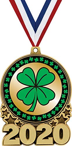 St. Patrick's Day 2020 Double Action Medal Gold, 3' Shamrock Themed Trophy Medal Awards, Great Lucky Four Leaf Clover Prizes for Kids 1 Pack