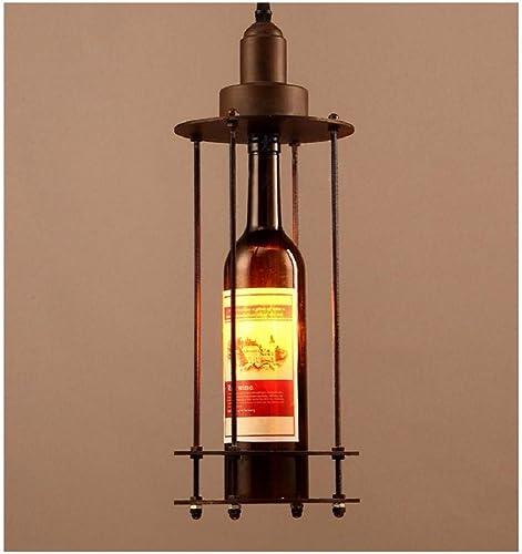 Lustre E14 pendentif en Fer Forgé Droplumière Lampe Rétro Creative Bar Suspendu Lumière Bouteille de vin en Verre