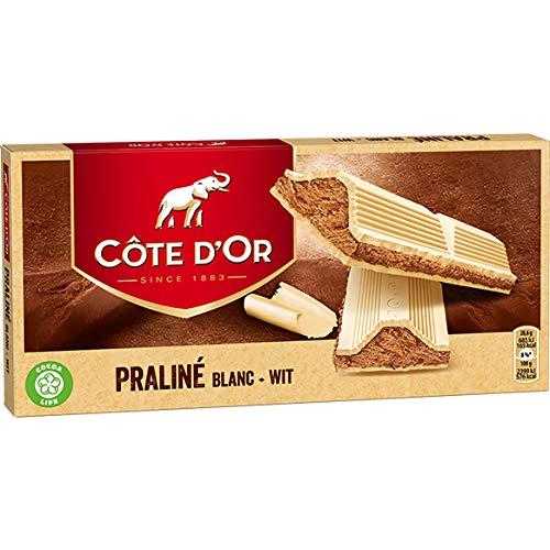 Côte d'Or - Praline Blanc - 200 g - Praliné aux Notes de Noisettes et de Chocolat Blanc - Snack parfait - Tablette de chocolat emballée individuellement - Importé de Belgique