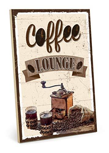 TypeStoff Holzschild mit Spruch – Coffee Lounge – im Vintage-Look mit Zitat als Geschenk und Dekoration zum Thema Kaffee und Küche