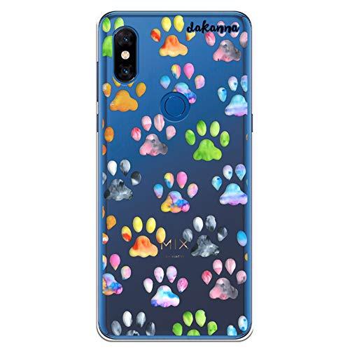 dakanna Funda para Xiaomi Mi Mix 3   Huellas de Mascotas   Carcasa de Gel Silicona Flexible   Fondo Transparente
