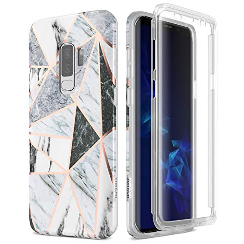 SURITCH Samsung Galaxy S9 Plus Marble Case, [Built-in Screen Protector] Cute Geometric Marble Full-Body Protection Shockproof Rugged Bumper Protective Cover for Galaxy S9 Plus 6.2 Inch (Gray Marble)