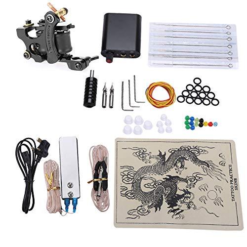 Hannea Tattoo Kits 8 Wrap Coils Guns Machine Power Supply Disposable Needle (Black, UK Plug)