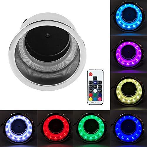 RGB LED Auto Getränkehalter mit DC12V 3W 14 LEDs und Fernbedienung, Edelstahl Dosen Halterung 110mm ID / 85mm Hoch, Flaschenhalter Aufbewahrungsbox für Auto PKW LKW NFZ