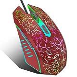 VersionTECH。 RGBゲームマウス 人間工学に基づいたUSB有線光学式マウス 7色LEDバックライト 4DPI設定 最大2400DPI プログラムボタン6つ ノートパソコン PCゲーム&仕事用 レッド