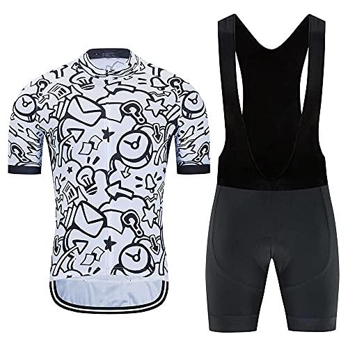 HXTSWGS Jersey de Ciclismo de Manga Corta + Medias de Montar Acolchadas 19D Conjunto de Ropa de Ciclismo de Secado rápido para Ciclismo Deportivo al Aire Libre Ciclismo-A01_4XL