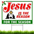 Jesus IS the Reason for the Season Sign - Outdoor Christmas Decorations Yard Lawn Sign with Step Stake - 16 inch x 24 inch - Sturdy Corrugated Plastic - For Church, Home, Businesses, Stores, Parties