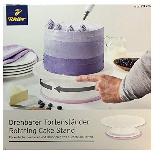 Tchibo TCM Drehbarer Tortenständer Tortenplatte Kuchenplatte Weiß Ø ca. 28 cm