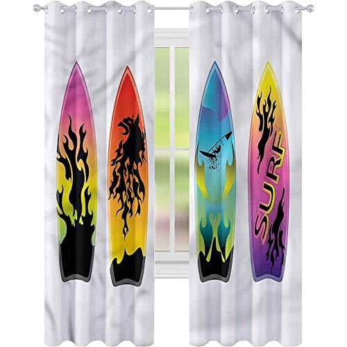Cortina de ventana tabla de surf tabla de surf tablas de surf W42 x L72 cortinas para sala de estar
