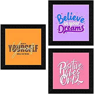 SAF Set of 3 motivational quotes UV Textured Synthetic Frame Painting Home Decorative Gift Item 10 Inch X 30 Inch SANFQT31427